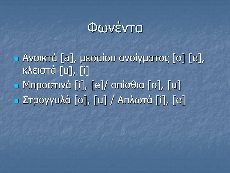 Φωνέντα Ανοικτά [a], μεσαίου ανοίγματος [o] [e], κλειστά [u], [i]